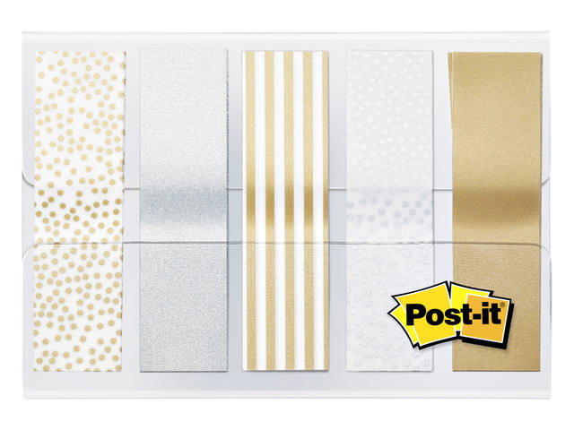 Indextabs 3M Post-it 684 12mmx43mm metallic motief goud zilver 1