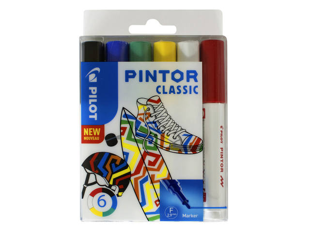 Verfstift Pilot Pintor classic 1.0mm ass etui à 6 stuks assorti 1