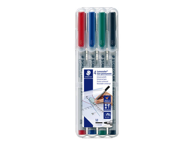 Viltstift Staedtler Lumocolor 315 non permanent M set à 4 stuks assorti 1