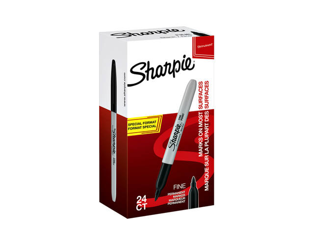 Viltstift Sharpie rond 1.0mm F valuepack á 20+4 gratis zwart 1