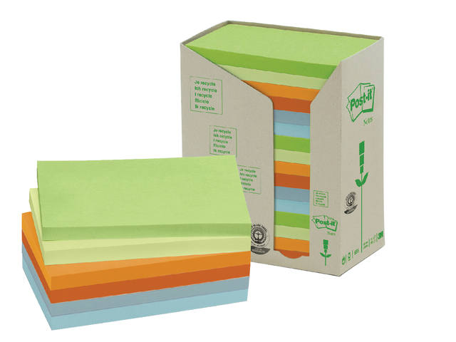 Memoblok 3M Post-it 655-1RPT 76x127mm 16 stuks recycled ass. 1