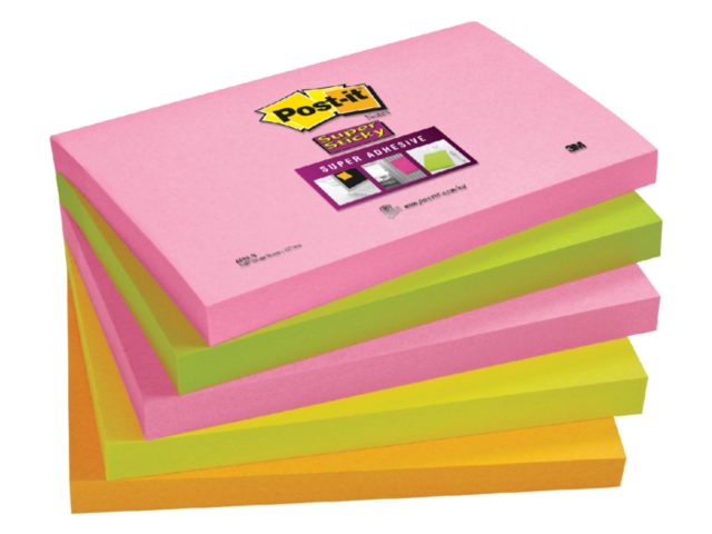 Memoblok 3M Post-it 655-SN Super Sticky 76x127mm neon kleur 1