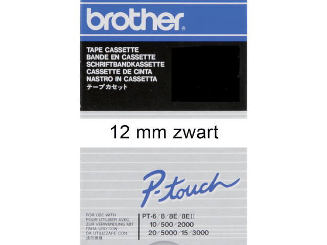 Labeltape Brother P-touch TC201 12mm zwart op wit 1