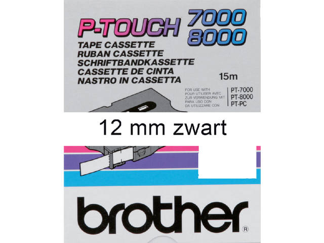 Labeltape Brother P-touch TX231 12mm zwart op wit 1