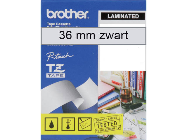 Labeltape Brother P-touch TZE-161 36mm zwart op transparant 3