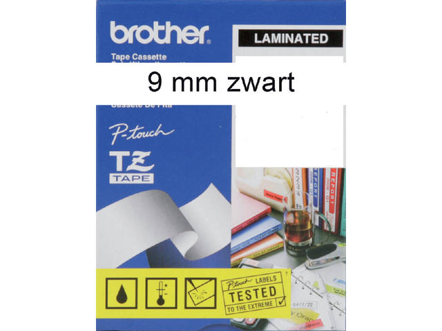 Labeltape Brother P-touch TZE-221 9mm zwart op wit 2