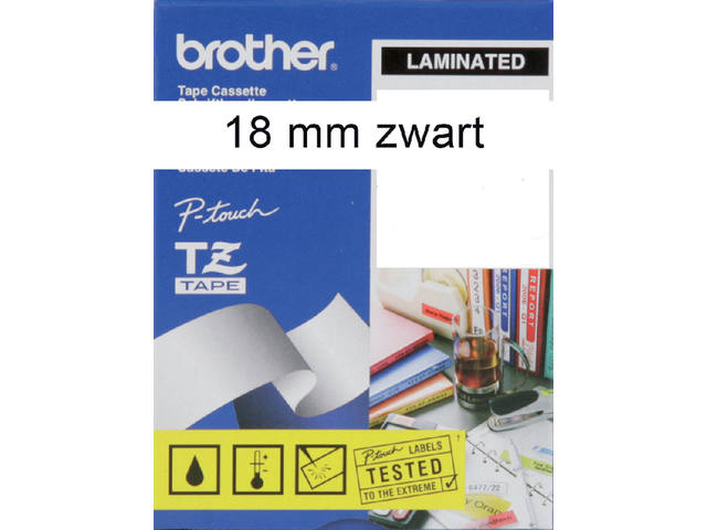 Labeltape Brother P-touch TZE-241 18mm zwart op wit 2