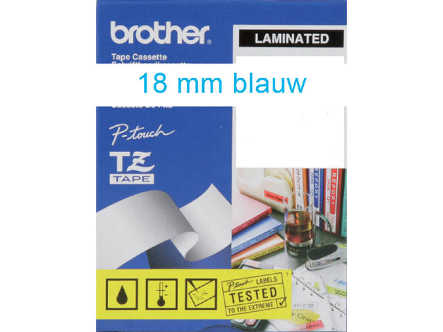 Labeltape Brother P-touch TZE243 18mm blauw op wit 3