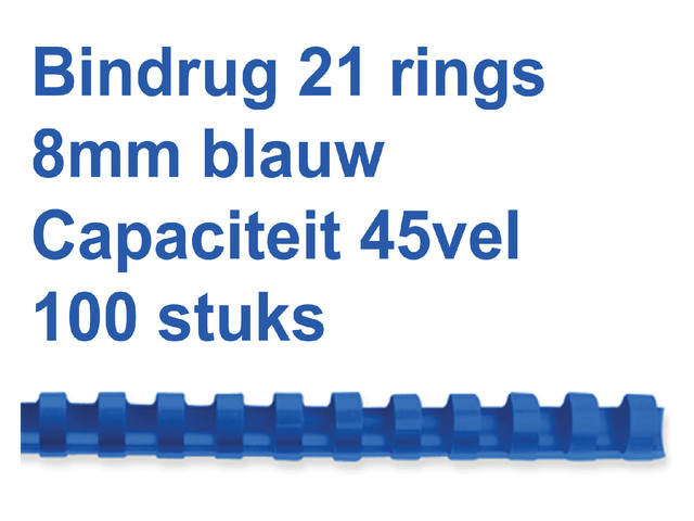 Bindrug Fellowes 8mm 21rings A4 blauw 100stuks 1