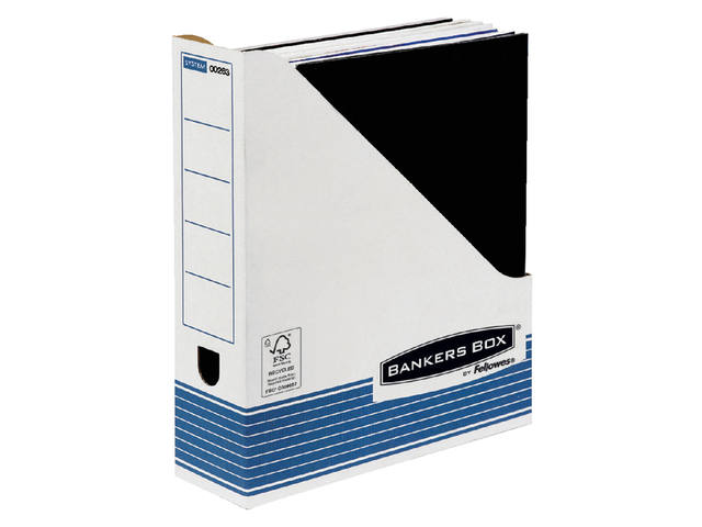 Tijdschriftcassette Bankers Box System A4  wit blauw 2