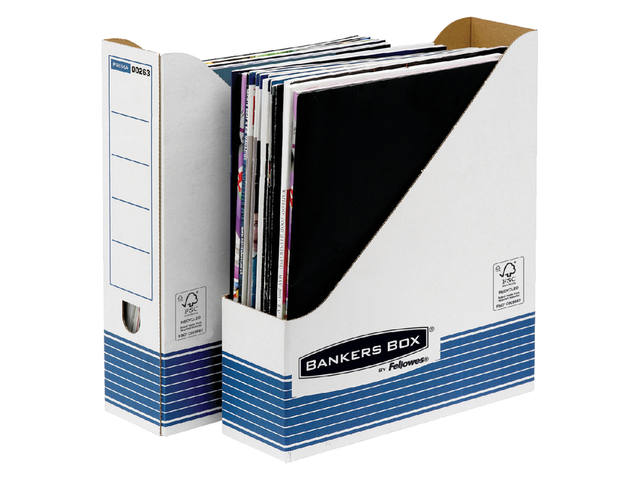 Tijdschriftcassette Bankers Box System A4  wit blauw 1