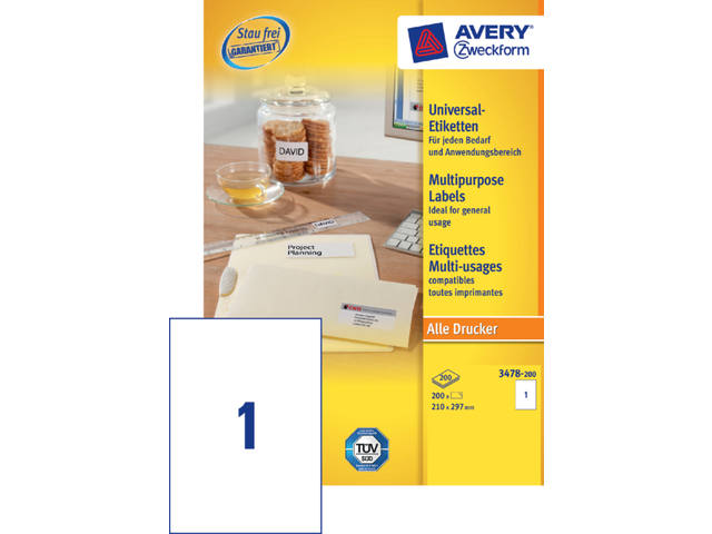 Etiket Avery Zweckform 3478 210x297mm A4 wit 200stuks 1
