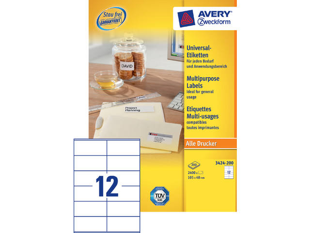Etiket Avery Zweckform 3424-200 105x48mm wit 2400stuks 1