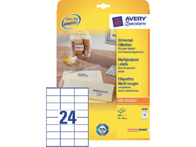 Etiket Avery Zweckform 3490 70x36mm wit 600stuks 1