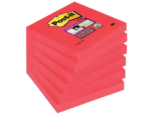 Memoblok 3M Post-it 654-SSPO Super Sticky 76x76mm Poppy 1