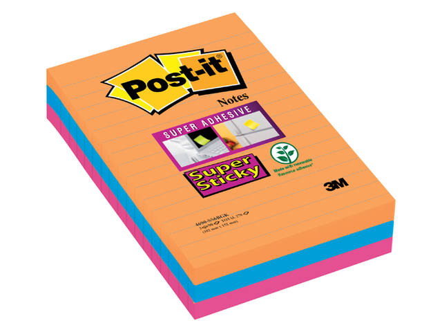 Memoblok 3M Post-it 4690 Super Sticky 101x152mm Bangkok 1