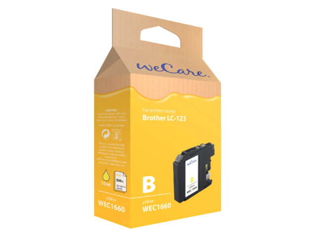 Inkcartridge Wecare Brother LC-123 geel 1