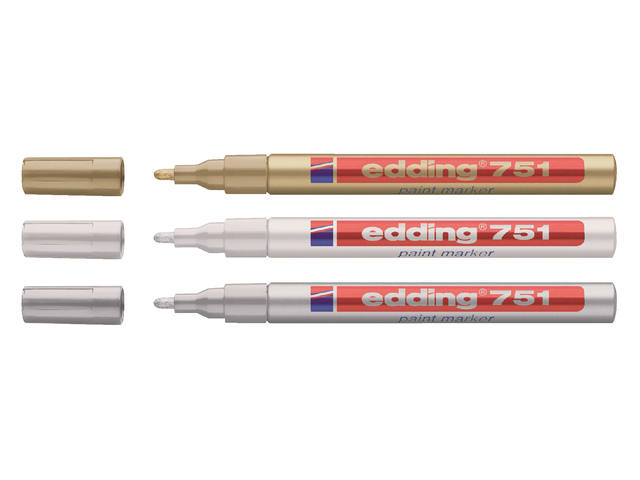Viltstift edding 751 lakmarker rond goud 1-2mm 2