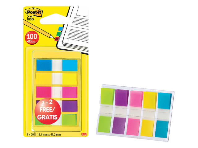 Indextabs 3M Post-it 6835CBP smal assorti 3+2 gratis 1