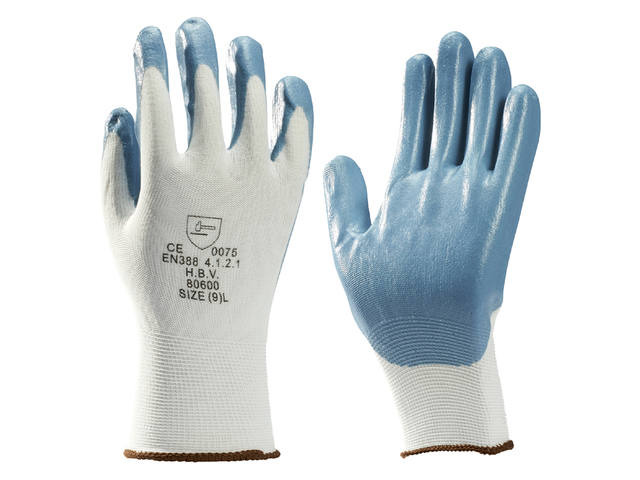 Handschoen grip Nitril foam wit/grijs medium 1