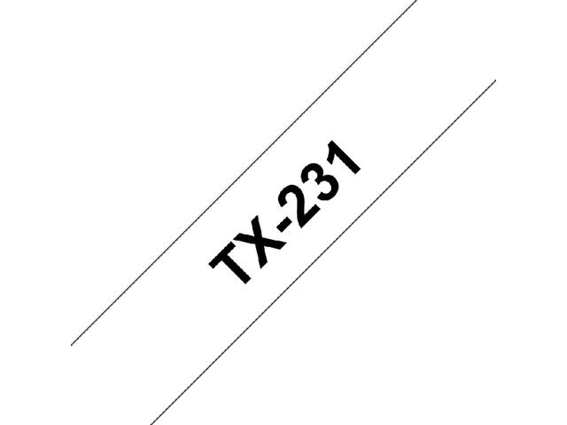 Labeltape Brother P-touch TX231 12mm zwart op wit 2