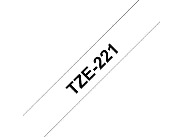 Labeltape Brother P-touch TZE-221 9mm zwart op wit 3