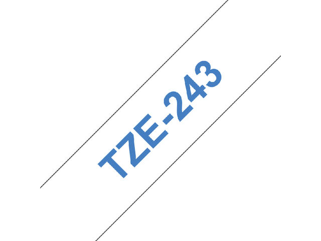 Labeltape Brother P-touch TZE243 18mm blauw op wit 2