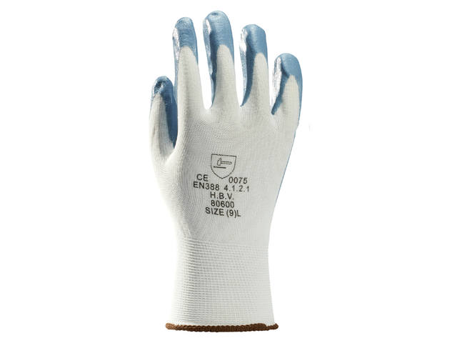 Handschoen grip Nitril foam wit/grijs medium 2