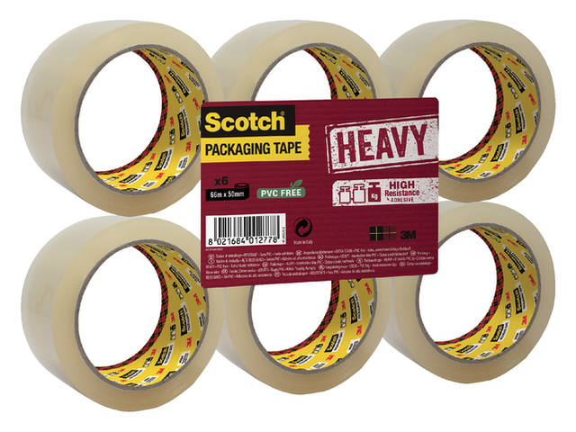 Verpakkingstape Scotch Heavy 50mmx66m transparant 6 rollen 1