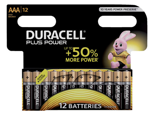 Batterij Duracell Plus Power 12xAAA alkaline 1
