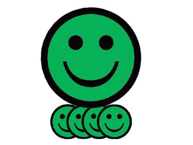 Magneet smiley 75mm emotie blij groen 1