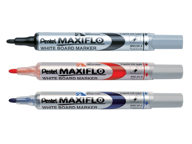 Viltstift Pentel MWL5 Maxiflo whiteboard rood 1mm 2