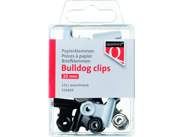 Papierklem bulldog Quantore blister 20mm assorti 1