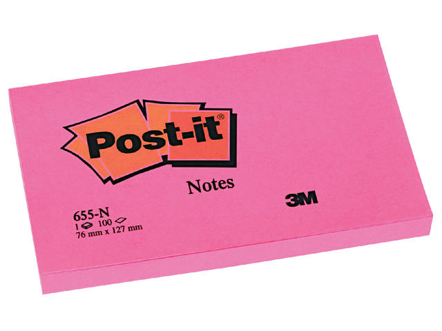 Memoblok 3M Post-it 655-NRO 76x127mm neon roze 1