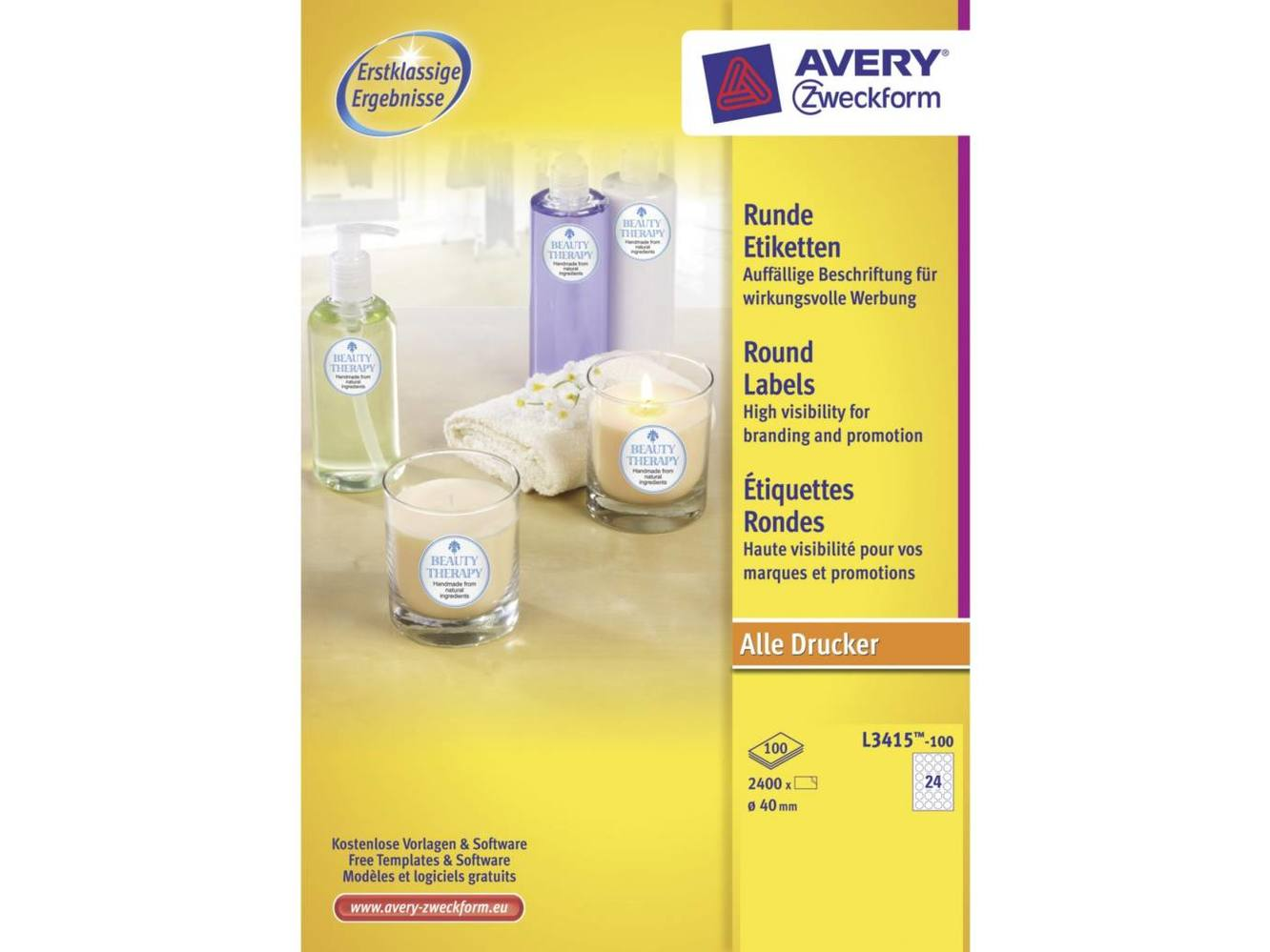 Etiket Avery L3415-100 Rond 40mm 1