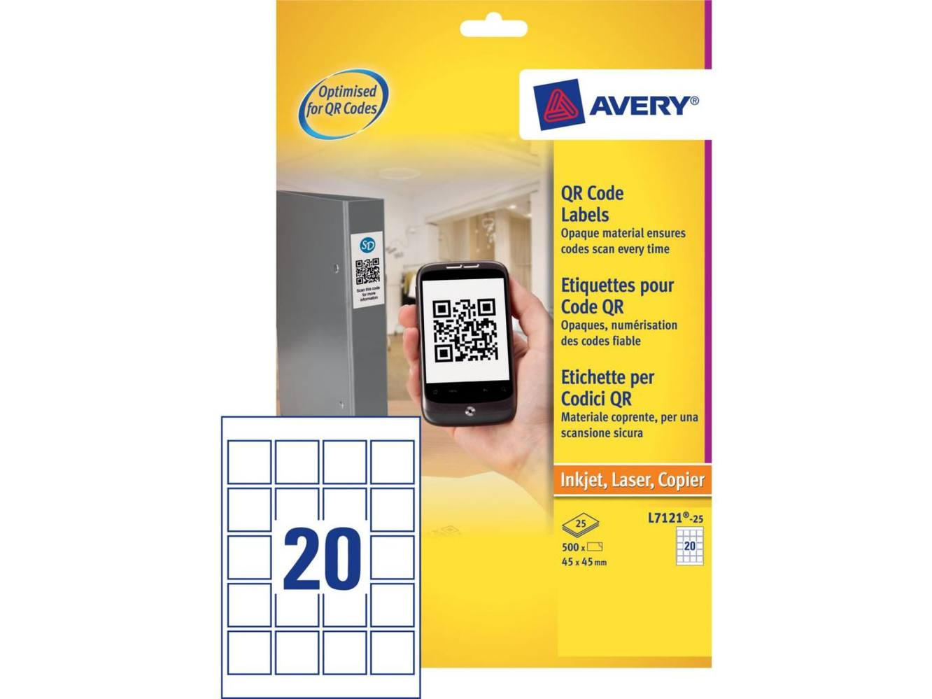Etiket Avery L7121 Qr-Code 45X45mm Wit 1